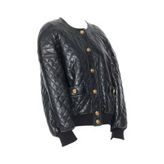 CHANEL 91A black leather diamond quilt drop shoulders hip hop bomber jacket FR40