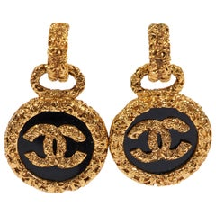 Chanel '93 Collection Black Florentine Drop Earrings with Box