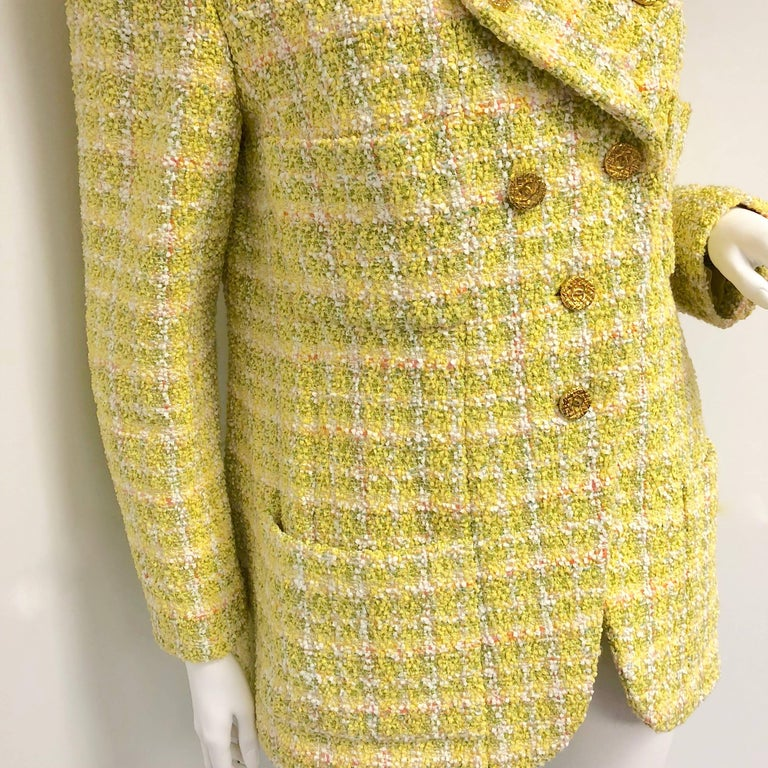 Brown Chanel 94P Vintage Jacket Yellow Fantasy Tweed Gold CC Buttons  For Sale