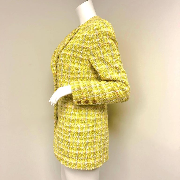 Chanel 94P Vintage Jacket Yellow Fantasy Tweed Gold CC Buttons  In Excellent Condition For Sale In Westlake Village, CA
