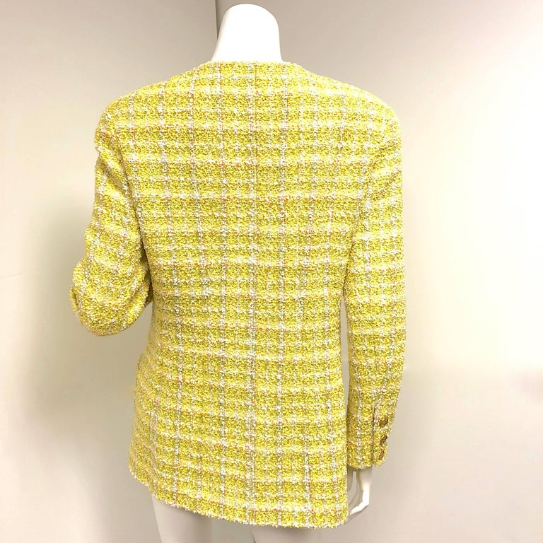 Women's Chanel 94P Vintage Jacket Yellow Fantasy Tweed Gold CC Buttons  For Sale