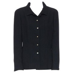 CHANEL 96A LBJ black wool boucle knit pipe dart CC button up blazer jacket FR44