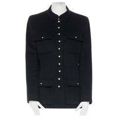CHANEL 96A vintage black cashmere 4 pocket mandarin collar military jacket FR44