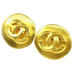 CHANEL 96P round-shaped coco mark GP Womens earrings gold