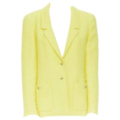 CHANEL 97C vintage baby yellow boucle tweed classic tailor blazer jacket FR40