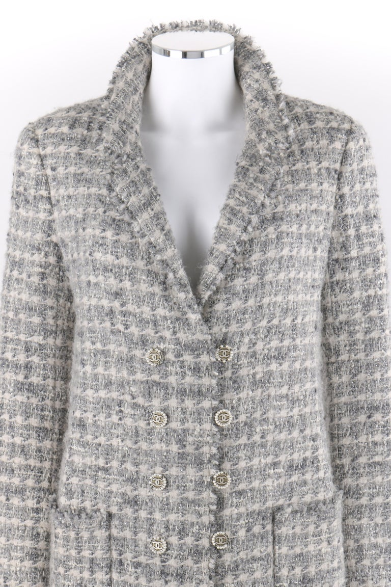 CHANEL A/W 2005 Grey Silver Metallic Classic Fantasy Tweed Boucle Wool Box Coat Pearl    Brand / Manufacturer: Chanel  Collection: Autumn / Winter 2005; Runway look #18 Style: Box Coat Color(s): Shades of white, grey and silver.  Lined: Yes