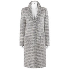 CHANEL A/W 2005 Grey Silver Metallic Classic Fantasy Tweed Boucle Box Coat Pearl