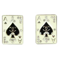 Chanel Ace Playing Card Clip-On Earrings