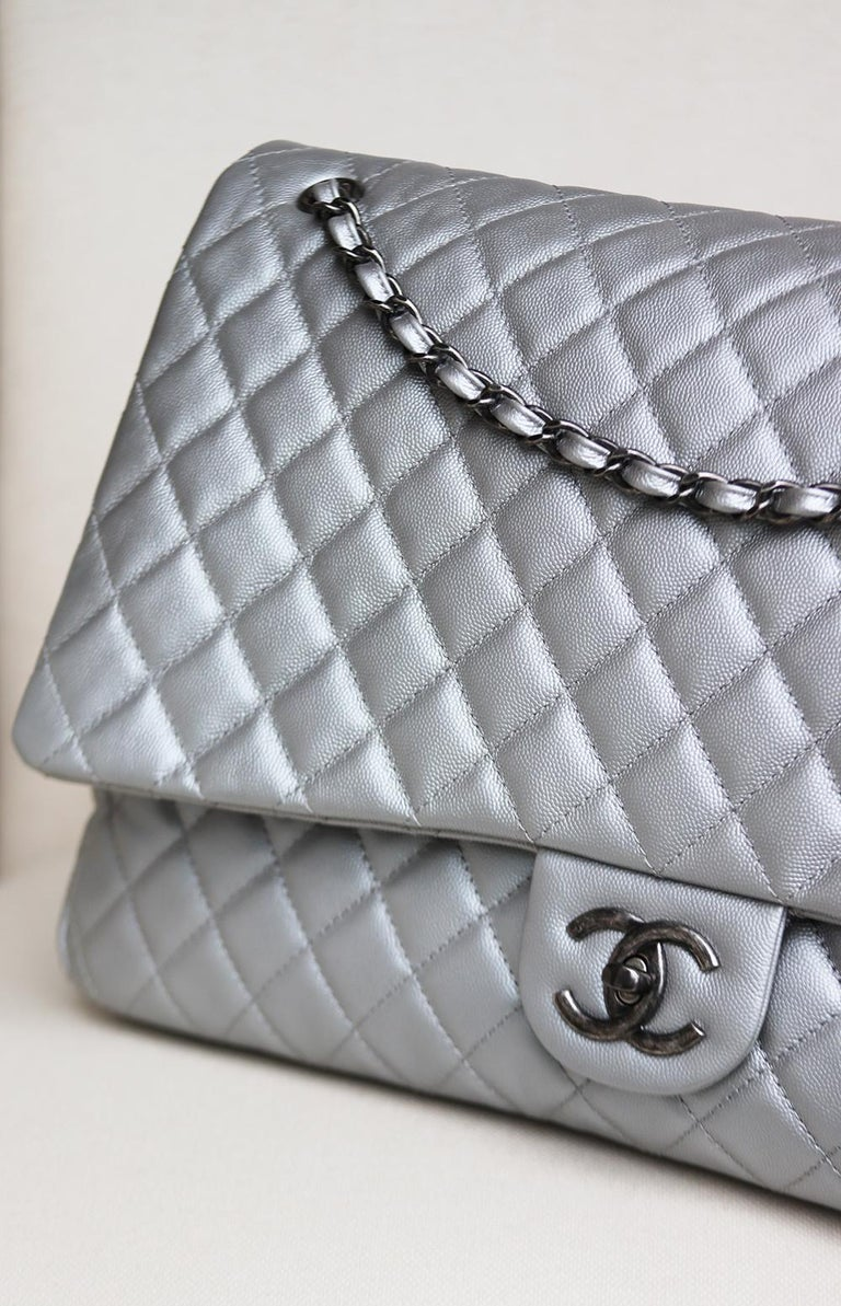 Gray Chanel Airline Large XXL Classic Flap Bag For Sale