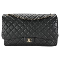 Chanel Airlines Black Quilted Lambskin XXL Single Flap Bag