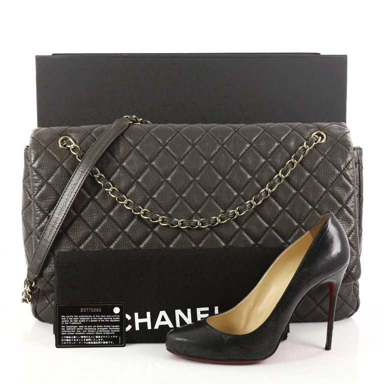 7a7ba496440f This authentic Chanel Airlines CC Flap Bag Quilted Calfskin XXL is an  oversized travel beauty made