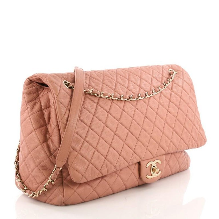 ecbe358b9e8b Brown Chanel Airlines CC Flap Bag Quilted Calfskin XXL For Sale