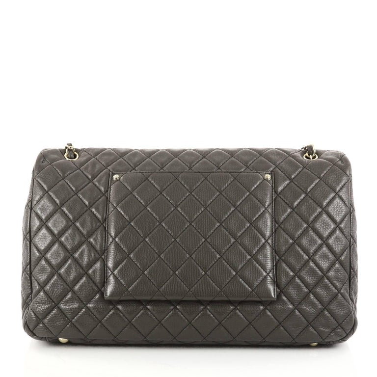 9114d19d4e72 Chanel Airlines CC Quilted Calfskin XXL Flap Bag In Good Condition For Sale  In New York
