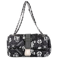 Chanel Airlines Chain Buckle Flap Bag Printed Satin Medium