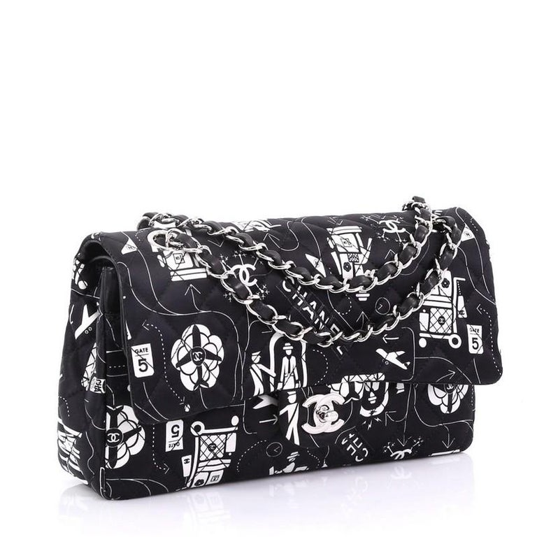7b67eec65ffa Black Chanel Airlines Classic Double Flap Bag Quilted Printed Satin Medium For  Sale