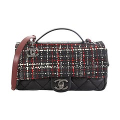 Chanel Airlines Top Handle Flap Bag Tweed and Quilted Aged Calfskin Medium