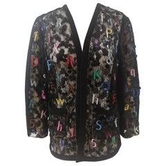 Chanel Alphabet see through cotton silk jacket