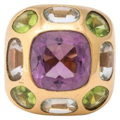 Chanel Amethyst Peridot Aquamarine Gold Ring