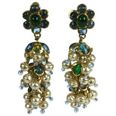 Chanel Anglo Indian Tiered Gripoix Earrings