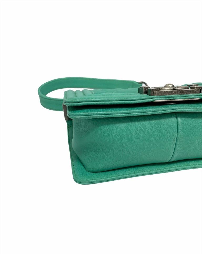 Chanel Aquamarine Green Leather Boy Bag For Sale 1