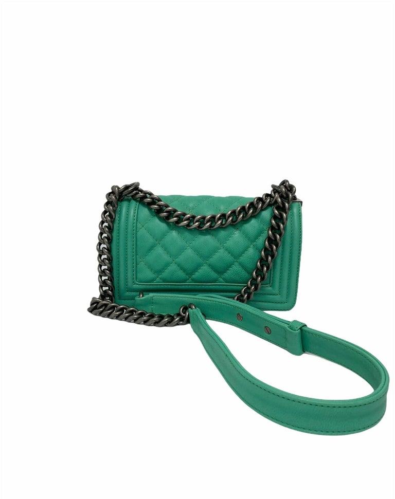 Chanel Aquamarine Green Leather Boy Bag For Sale 2