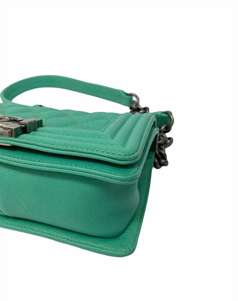 Chanel Aquamarine Green Leather Boy Bag For Sale 3