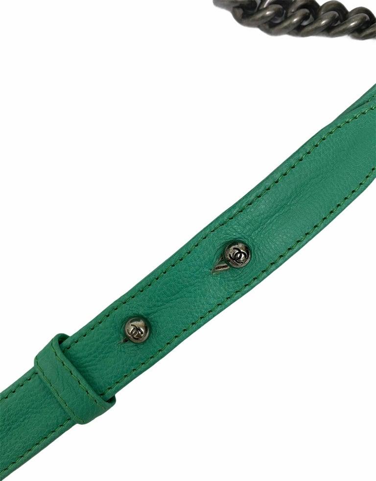 Chanel Aquamarine Green Leather Boy Bag For Sale 4