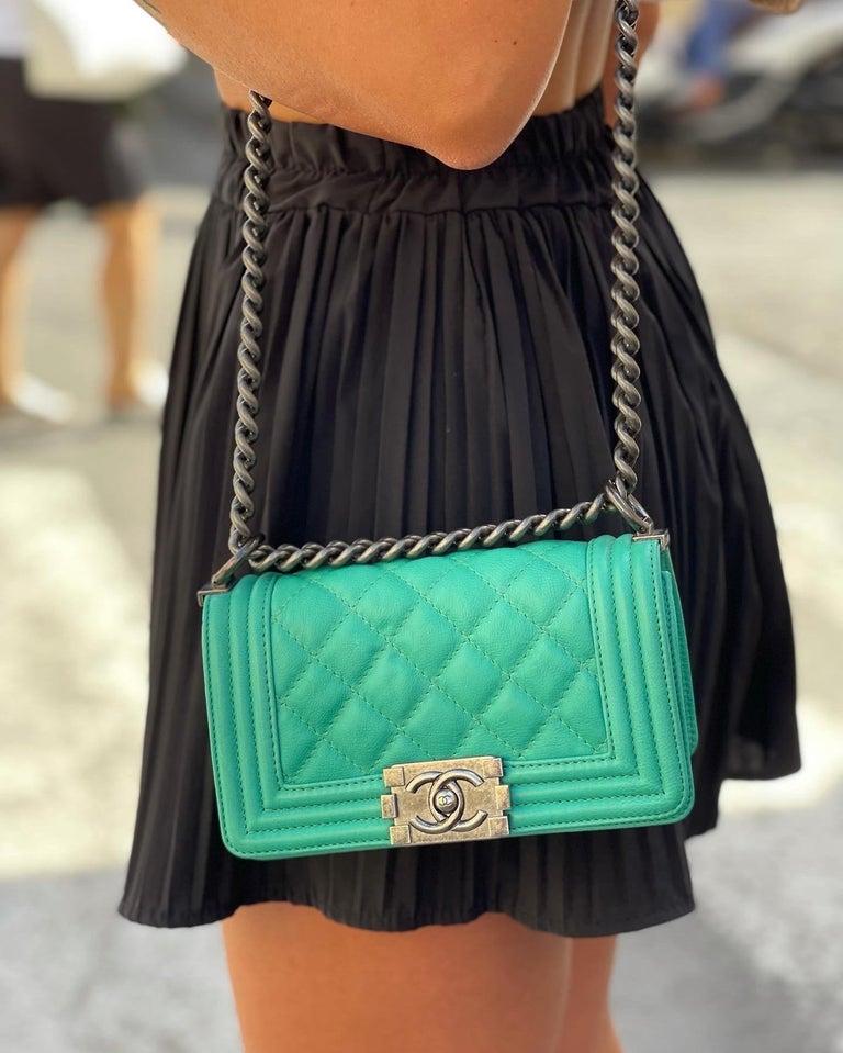 Chanel Aquamarine Green Leather Boy Bag For Sale 5