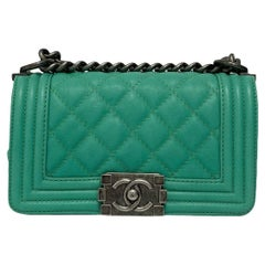 Chanel Aquamarine Green Leather Boy Bag