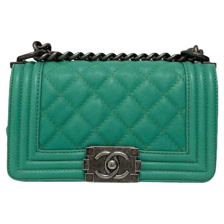 Chanel Aquamarine Green Leather Boy Bag For Sale