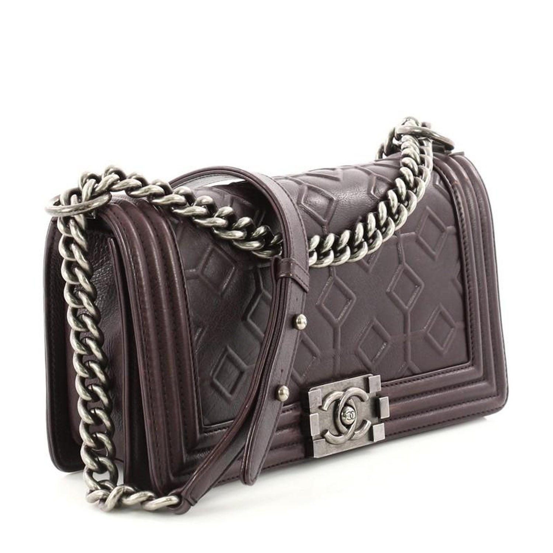 2667fa566fa0 Chanel Arabesque Boy Flap Bag Embossed Calfskin Old Medium at 1stdibs