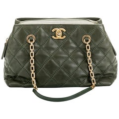 Chanel Army Green Quilted Leather Handbag