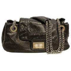 Chanel Authentic Black Perforated Leather Drill Flap Bag With Silver Tone Chain