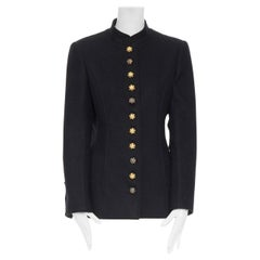 CHANEL AW96 black wool red green gripoix glass button byzantine military jacket