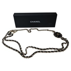 Chanel B16 Interwoven Leather Chain CC Logo Necklace/Belt