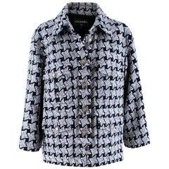 Chanel Baby Blue & Black Oversize-Houndstooth Tweed Jacket - Size US 8