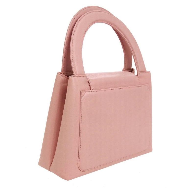 Women's Chanel Baby Pink Leather Top Handle Satchel Kelly Style Small Party Evening Bag For Sale