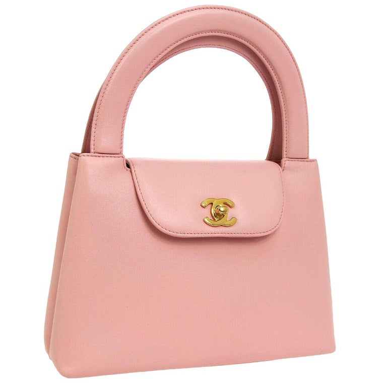 Chanel Baby Pink Leather Top Handle Satchel Kelly Style Small Party Evening Bag For Sale