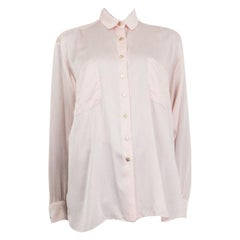 CHANEL baby pink silk Blouse Shirt M to L