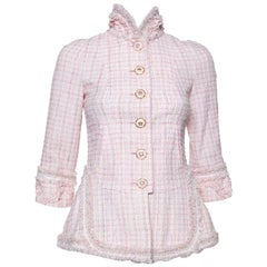 Chanel Baby Pink Tweed Stand Collar Fringed Jacket S