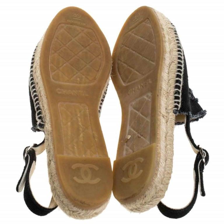 Women's Chanel Back Canvas CC Espadrille Slingback Flat Sandals Size 39 For Sale