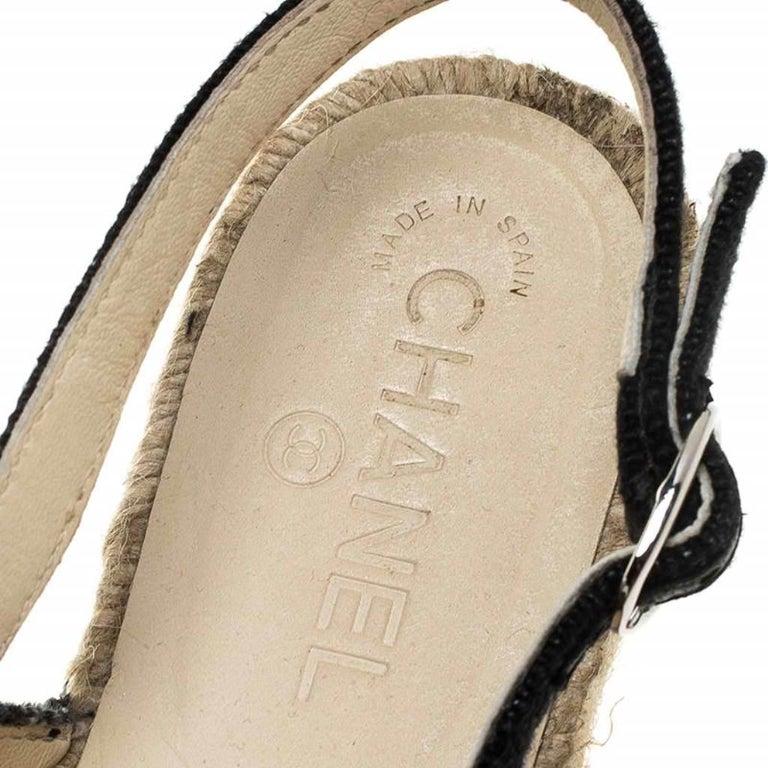 Chanel Back Canvas CC Espadrille Slingback Flat Sandals Size 39 For Sale 2