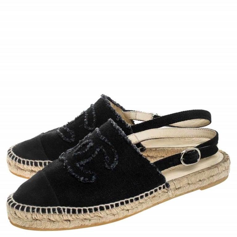 Chanel Back Canvas CC Espadrille Slingback Flat Sandals Size 39 For Sale 3