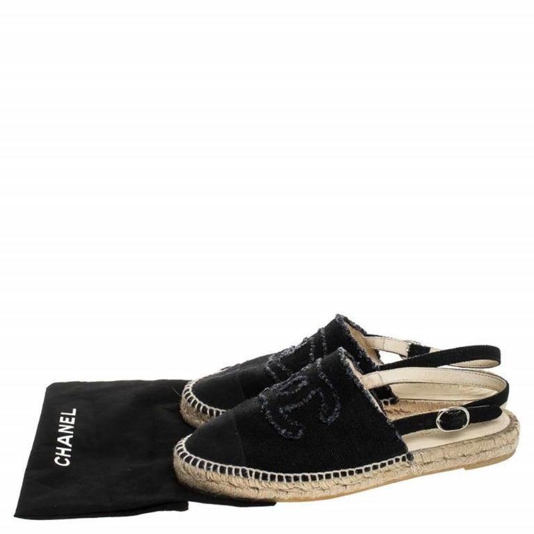 Chanel Back Canvas CC Espadrille Slingback Flat Sandals Size 39 For Sale 4