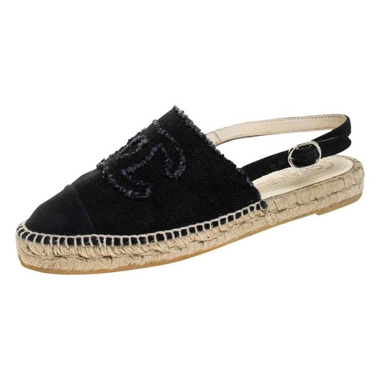 Chanel Back Canvas CC Espadrille Slingback Flat Sandals Size 39 For Sale