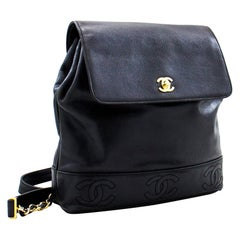 CHANEL Backpack Caviar Triple Coco Flap Leather Black Ruck Gold