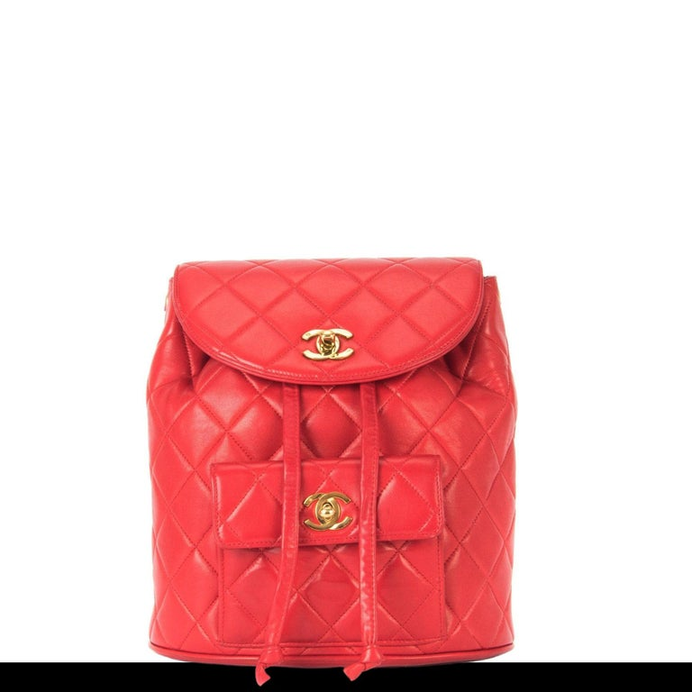 3cbb51989c71 Chanel Backpack Ultra Rare Duma Vintage Red Lambskin Leather Rucksack For  Sale 6