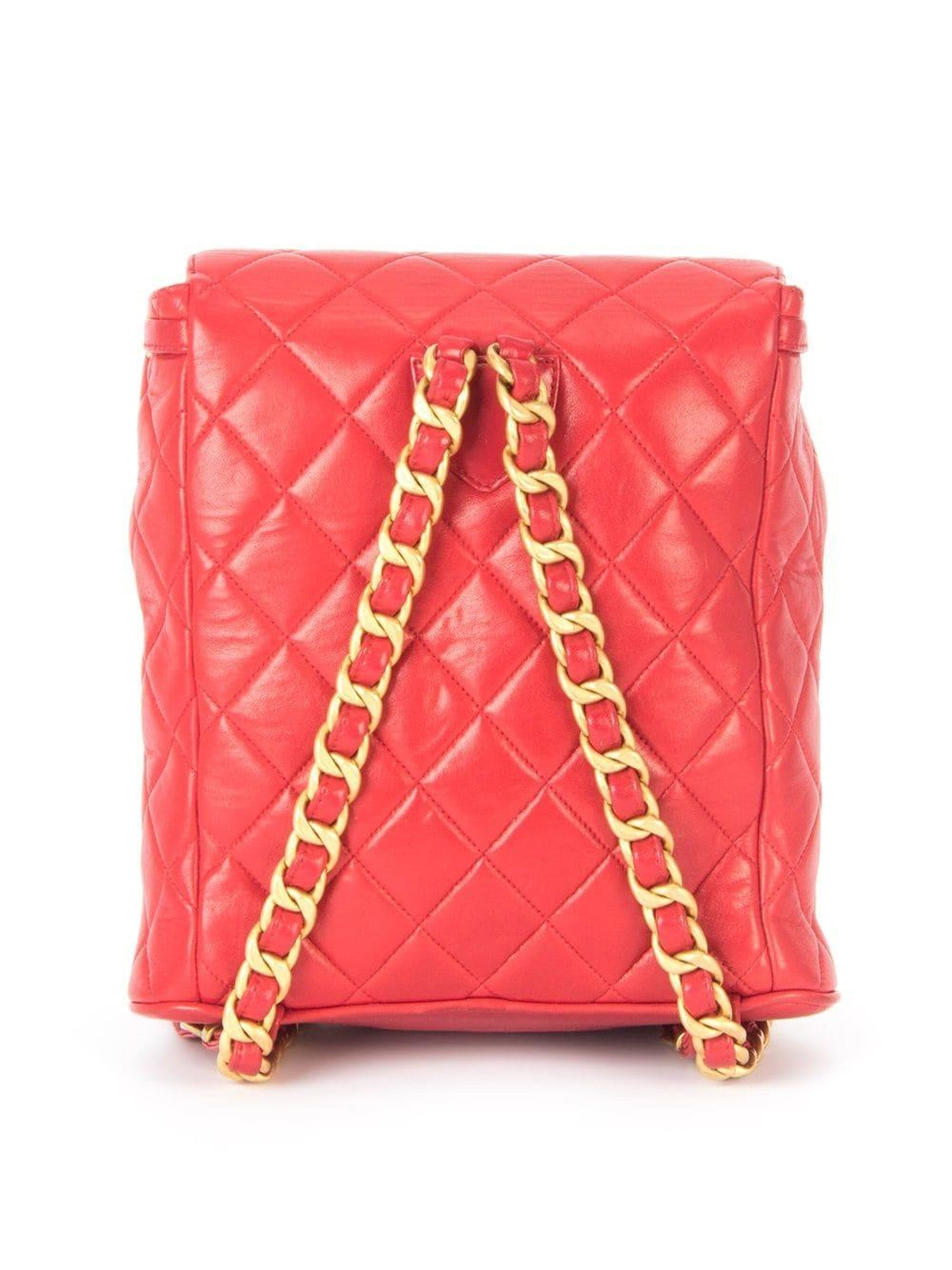 72ad95d898 Chanel Backpack Ultra Rare Duma Vintage Red Lambskin Leather Rucksack For  Sale at 1stdibs