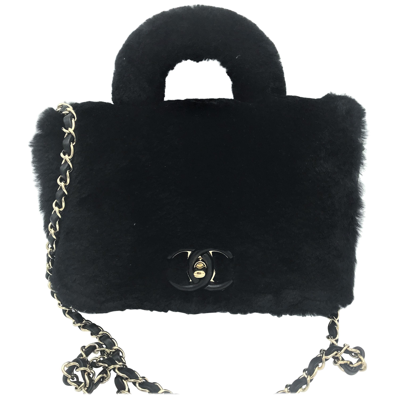 CHANEL bag black calbskin leather with black glossy sheep, 2017