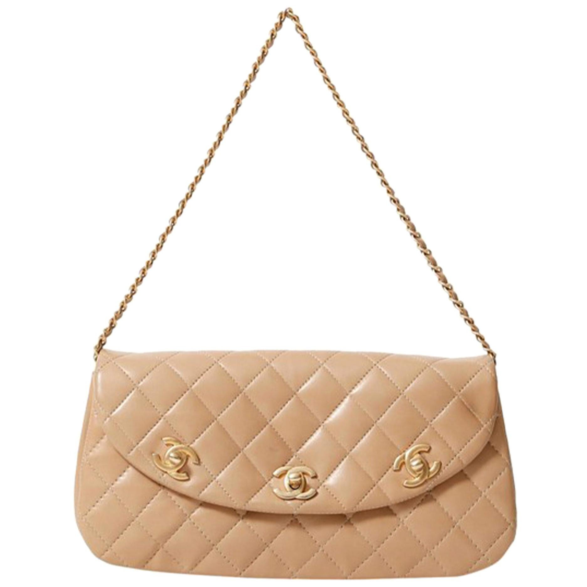 Chanel Bag Top Handle Vintage Rare Triple CC Turnlock Convertible Flap Clutch